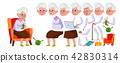 Old Woman Vector. Senior Person Portrait. Elderly People. Aged. Animation Creation Set. Face 42830314