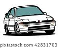 Nostale國內緊湊小轎車白色汽車例證 42831703
