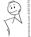 Cartoon of Man Pointing Down to Something or Some Sign 42833070
