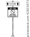 Vector Artistic Drawing of Traffic Arrow Sign With Future and No Life Beyond This Point Texts. 42833073