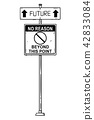 Vector Artistic Drawing of Traffic Arrow Sign With Future and No Reason Beyond This Point Texts. 42833084