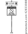 Vector Artistic Drawing of Traffic Arrow Sign With Future and No Freedom Beyond This Point Texts. 42833088