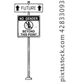 Vector Artistic Drawing of Traffic Arrow Sign With Future and No Gender Beyond This Point Texts. 42833093