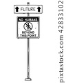 Vector Artistic Drawing of Traffic Arrow Sign With Future and No Humans Beyond This Point Texts. 42833102