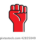 Fist hand up vector icon 42835049