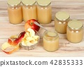 Homemade preserved apple puree in jar 42835333