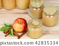 Homemade preserved apple puree in jar 42835334