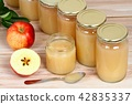 Homemade preserved apple puree in jars 42835337