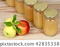 Homemade preserved apple puree in jars 42835338
