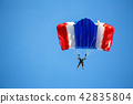 isolated skydiver in colorful parachute gliding  42835804
