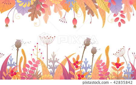 Floral Horizontal Seamless Border  Autumn Plants 42835842