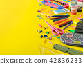 Set school supplies on yellow background. Top view 42836233