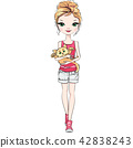 Vector beautiful fashion girl with cat 42838243