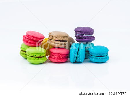 Colorful Macarons on white background. 42839573