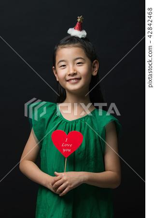 孩子,女孩,韓國,黑背景,概念 42842468