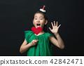 孩子,女孩,韓國,黑背景,概念 42842471