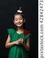 孩子,女孩,韓國,黑背景,概念 42842473