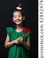 孩子,女孩,韓國,黑背景,概念 42842474
