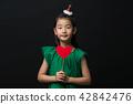 孩子,女孩,韓國,黑背景,概念 42842476