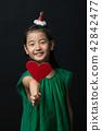 孩子,女孩,韓國,黑背景,概念 42842477