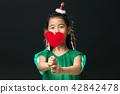 孩子,女孩,韓國,黑背景,概念 42842478