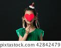 孩子,女孩,韓國,黑背景,概念 42842479