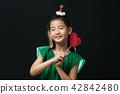 孩子,女孩,韓國,黑背景,概念 42842480