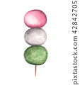 "Japanese traditional sweet ""DANGO"", Watercolor 42842705"
