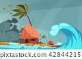 Coastal Tsunami Flat Composition 42844215
