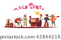 Wild West Cartoon Background 42844219