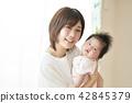 아기 낮잠 가족 부모와 자식 42845379