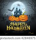 Happy Halloween gold message, pumpkin bat, witch 42846975