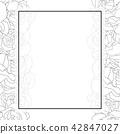 Carnation Flower Outline Banner Card Border 42847027