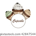 Colorful cupcakes round frame.  42847544