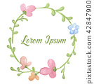 Wreath of flowers in watercolor style 42847900