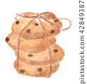 Chocolate chip cookies tied and brown rope 42849387