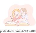 Two kids writting homework in worksheet for school 42849409
