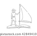 Boy in hat floating on book with sail 42849410
