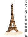 Hand painted of Eiffel tower. Watercolor 42849654