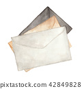 Watercolor painting of Old envelope 42849828