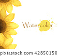 yellow flower with place for text. Watercolor 42850150
