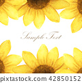 yellow flower with place for text. Watercolor 42850152
