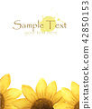 yellow flower with place for text. Watercolor 42850153
