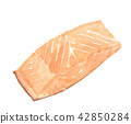 Hand drawn sliced salmon. watercolor illustration. 42850284