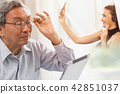 Dad daughter talking together using video call 42851037