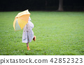 A girl walking with an umbrella 42852323