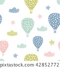 Childish seamless pattern with cute hot air balloon. Creative texture for fabric 42852772
