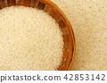 White rice (Thai Jasmine Rice) in bamboo basket. 42853142