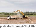 Yellow excavator machine loading soil into a dump  42854302