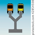 Flat Design Front View of Mono rail Vector 42854508